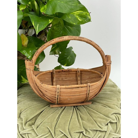 VINTAGE Boho Rattan Small Handled Boat Basket